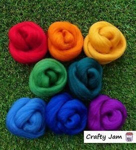 Needle Felting Bright Tones Corriedale, Felting Wool, Rovings 53g