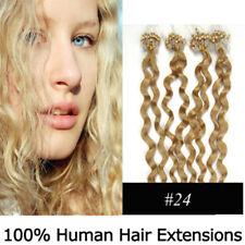 """20"""" Remy Micro Rings/loop Hair Curly Human Hair Extensions #24 Medium blonde"""