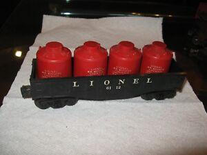 vintage LIONEL 6112 O gauge 4 red CANISTER Car gondola TRAIN
