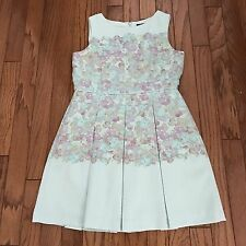 TAHARI Floral Dress 14P Petite by ASL Sleeveless Box Pleat Pastel Green Retro