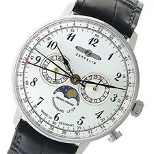 ZEPPELIN Watch 7036-1 Hindenburg quartz Silver-dial Leather Belt NEW
