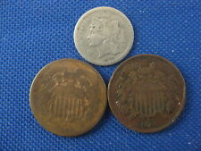 3 Pc U.S. Obsolete Coin Lot 1870 Cent 1864 Two Cent 1865 Fancy 5 Two Cent
