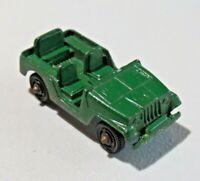 "Vintage TootsieToy Army Jeep Diecast Light Green Star 2 1/4"" Long USA 8524"