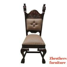 Antique Hand Carved Lion's Head Throne Fireside Club Chair B