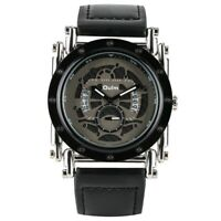Steampunk OULM Watch Men's Quartz Analog Wristwatch Black Leather Bracelet Reloj