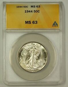 1944 Walking Liberty Silver Half Dollar Coin 50c ANACS MS-63 (Better)