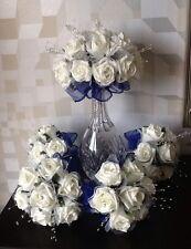 WEDDING FLOWERS BRIDES IVORY FOAM ROSE/NAVY BLUE BRIDESMAID BOUQUET