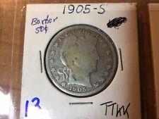 1905 -S 90% Silver Barber Half Dollar - VF