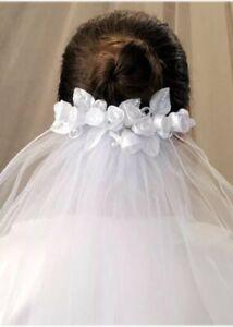 White 2 Tier First Holy Communion Veil / Bridal Wedding Hen Night Veil