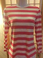 Women's Striped Close Long Sleeve Modest Top, Size L