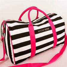 Victoria's Secret Pink&White Striped Canvas Travel Duffle Extra Large Bag