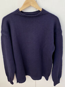 Traditional Guernsey Knitwear Le Tricoteur Navy Blue Fisherman's Jumper - Size L