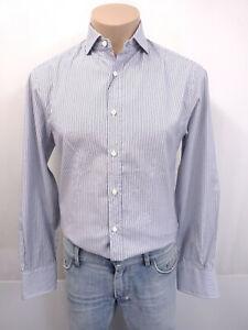 BRUNELLO CUCINELLI Designer Slim Fit Hemd Gr.M KW39 Kragen Blau Weiß Streifen