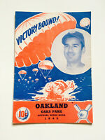 Rare 1945 Victory Bound Los Angeles VS Oakland Wartime Baseball Program