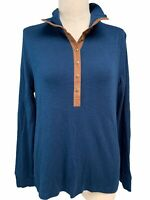 NWOT Chaps PXL Long Sleeve Collared Shirt Womens Navy Blue Petite Cotton Blouse
