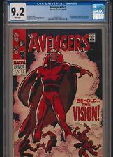 MARVEL COMICS AVENGERS #57 1968 CGC 9.2 WP 1st VISION APPEARANCE