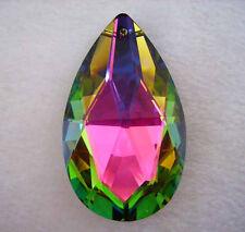 Lots 20Pcs 50mm Rainbow Net Shaped Multi Face Teardrop Glass Beads Pendants