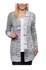 Leo & Nicole Ladies Marled Rib Trim Pointelle Cardigan Black Dove Pick Size XL