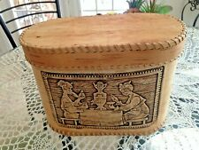 HANDMADE Birch Bark Oval Box w/ Lid Design Russian Folk Art/Craft