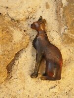 Rare Antique Ancient Egyptian Amber Precious Statue God Cat Protection 1780 BC