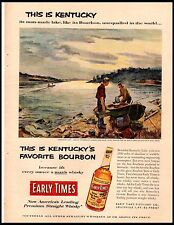 1953 Early Times Whiskey Earl Gross Art Fishing Vintage Print Ad