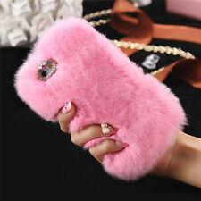 Cálida y suave de piel sintética Furry Teléfono Cubierta Diamante piel caso para iPhone 5/5S/6/6 Plus