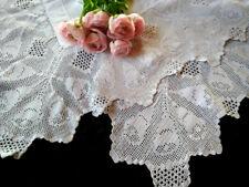 "Antique Filet Hand Crochet Festive Holiday 'Joy Bells' Lge Tablecloth 52"" X 53"""