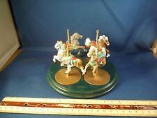 Hallmark Carousel Horse Tree Ornaments (4) With Special Stand 1980's