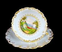 OLD PARIS PORCELAIN FRENCH EMPIRE ANTIQUE SCALLOPED PICTURE CUP & SAUCER 1750