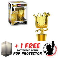 FUNKO POP MARVEL STUDIOS GROOT GOLD CHROME EXCLUSIVE + FREE POP PROTECTOR