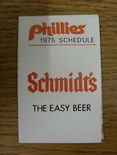 1975 Fixture Card: Baseball - Philadelphia Phillies (fold out style). Any faults