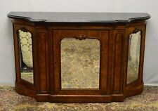 Antique 1800's Burl Walnut Mirrored Sideboard Server Buffet Marble Top