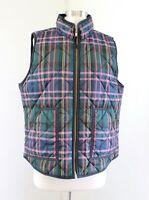 J Crew Excursion Vest in Signature Tartan Plaid Size L Zip Front Green Pink