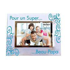 """Cadre photo """"Pour un Super ... Beau-Papa"""" horizontal idée cadeau neuf"""