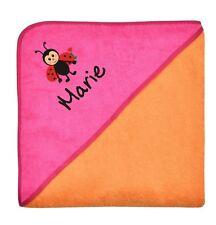 Wolimbo 140x140cm Kapuzenbadetuch mit Namen und Motiv Farbe orange Kapuze pink