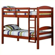 Walker Edison Twin over Twin Wood Bunk Bed in Cherry