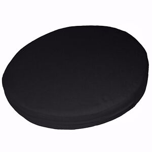 aa152r Black Cotton Canvas Fabric 3D Round Shape Seat Cushion Cover Custom Size