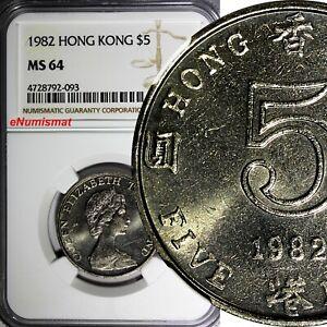 Hong Kong Elizabeth II 1982 5 Dollars NGC MS64 TOP GRADED BY NGC KM# 46