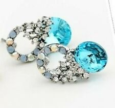 Platinum Plated Blue Crystal Stud Earrings MADE WITH SWAROVSKI ELEMENTS E76
