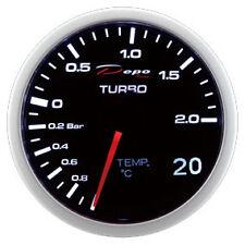 Manometro Strumento 60mm DEPO 2x1 Pressione Turbo + Temperatura Olio -acqua Nero