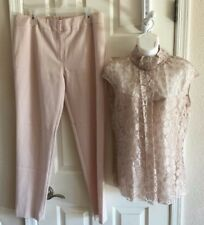 Escada pink 40/38 US Large/Med 2 piece suit pants & top silk lined lace shimmery