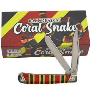 Rough Ryder Coral Snake Trapper Pocket Knife RR2281 Red Black Yellow