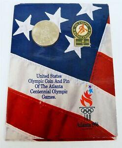 1996 Atlanta Olympics Commemorative Half-Dollar Coin & Pin Set NIB C0515