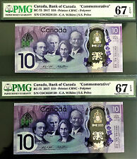 Canada 2017 Commemorative Polymer 2 Consecutive $10 BC-75 GEM UNC PMG 67 EPQ