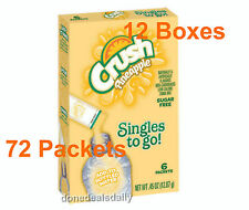(12 Boxes) CRUSH PINEAPPLE Singles To Go Sugar Free - 72 Packets Total