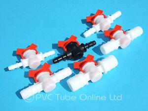 Inline Tap Connector Barbed PVC Hose/Tube Plastic Shut Off Valve Garden Boat DIY