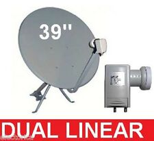"39""  HIGH GAIN KU BAND SATELLITE FTA DISH + DUAL LINEAR FREE TO AIR LNB 97 W 95"