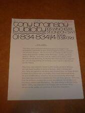 Thin Lizzy 1975 Agency Press Release