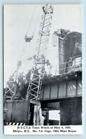 Brooklyn, NEW YORK - 1965 TRAIN WRECK DISASTER POSTCARD - CRANE CLEAN UP - S2