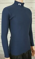 Under Armour Heat Gear Compression Shirt Med Blue Long Sleeves Mock Neck Ua